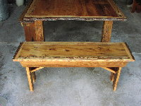 Rustic Wide Planked Bench