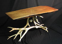 Custom Rustic Furniture - Walnut Table with Antler Base