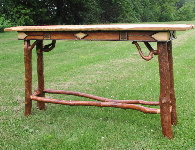 Adirondack Furniture - Sofa Table With Leather and Sticks