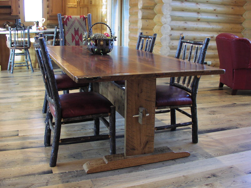 Harvest Table - Walnut and Oak Trestle Table
