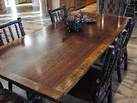 Farm Table - Walnut and Oak Trestle Table